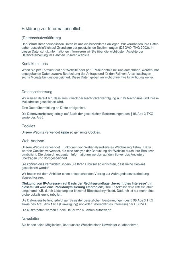 1 DSGVO Erklärung zur Informationspflicht original Word